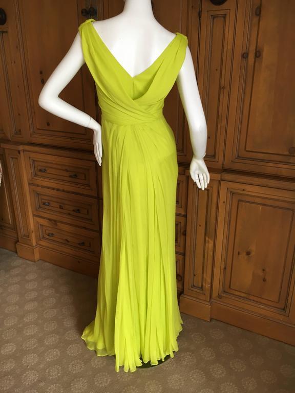 Oscar de la Renta Neon Green Silk Chiffon Goddess Gown For Sale 4