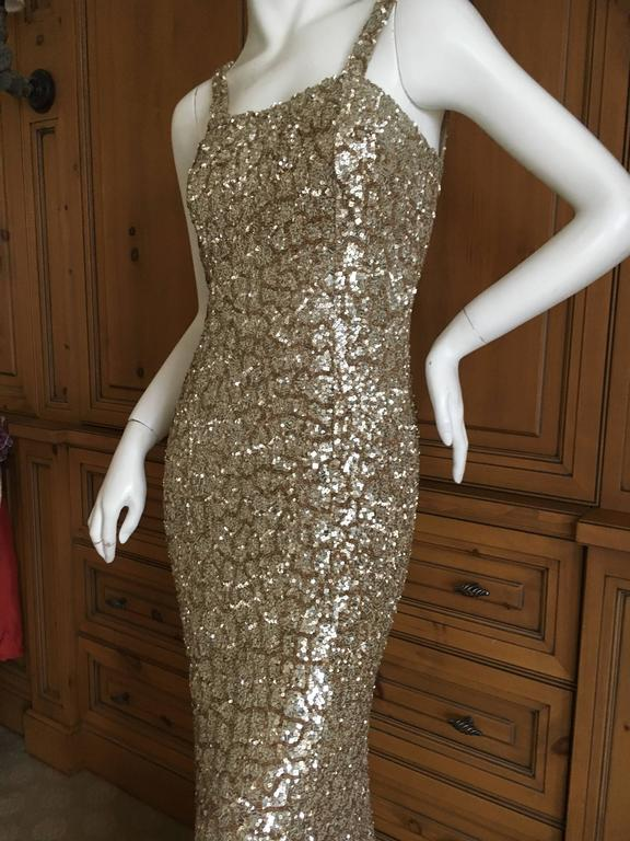 Monique Lhuillier Gold Sequin Mermaid Gown with Train 3