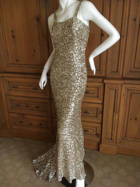 Monique Lhuillier Gold Sequin Mermaid Gown with Train 4