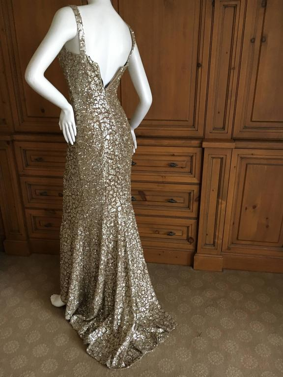 Monique Lhuillier Gold Sequin Mermaid Gown with Train 5