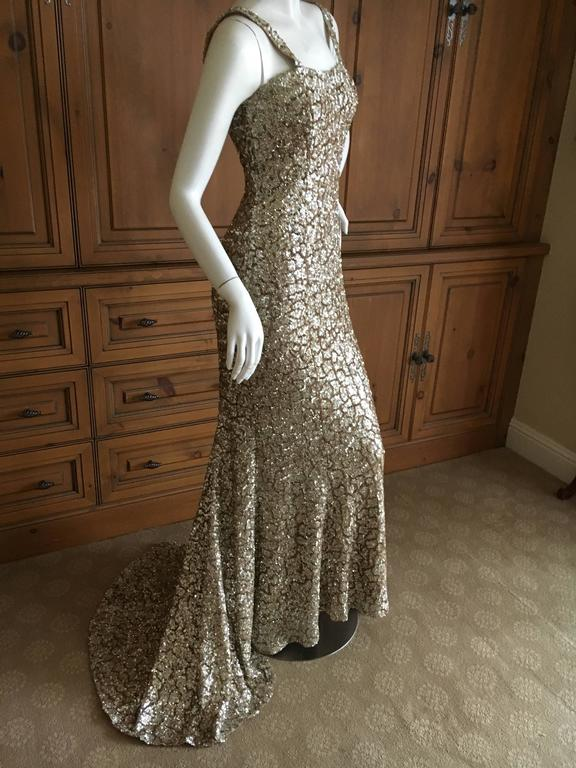 Monique Lhuillier Gold Sequin Mermaid Gown with Train 6
