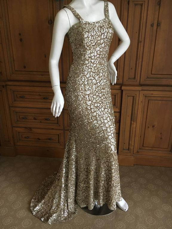 Monique Lhuillier Gold Sequin Mermaid Gown with Train 7