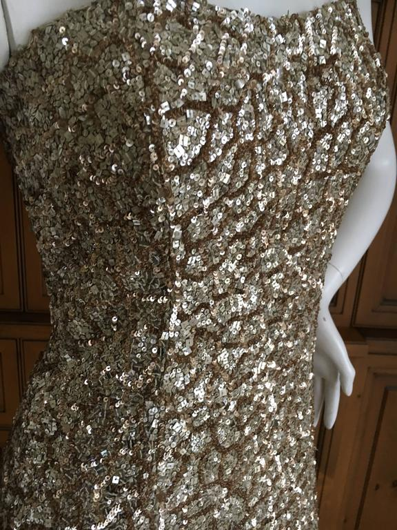 Monique Lhuillier Gold Sequin Mermaid Gown with Train 8