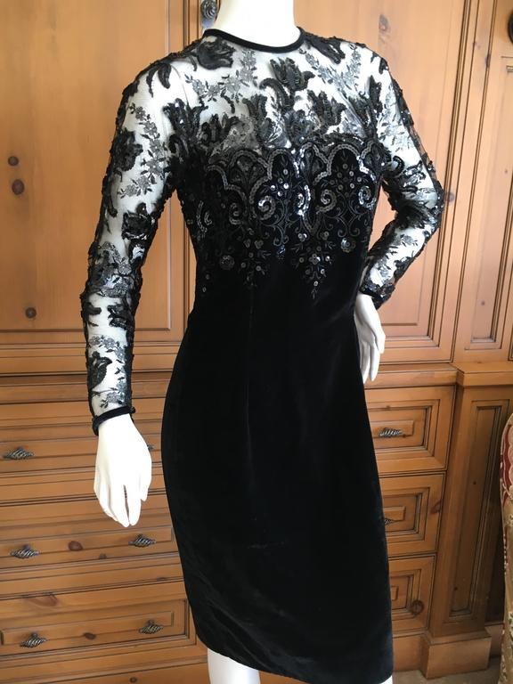 Oscar de la Renta Vintage Velvet Cocktail Dress with Sequin Lace Details 2