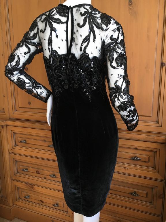 Black Oscar de la Renta Vintage Velvet Cocktail Dress with Sequin Lace Details For Sale