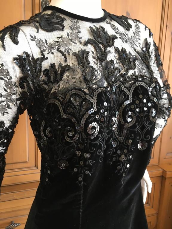 Oscar de la Renta Vintage Velvet Cocktail Dress with Sequin Lace Details 6