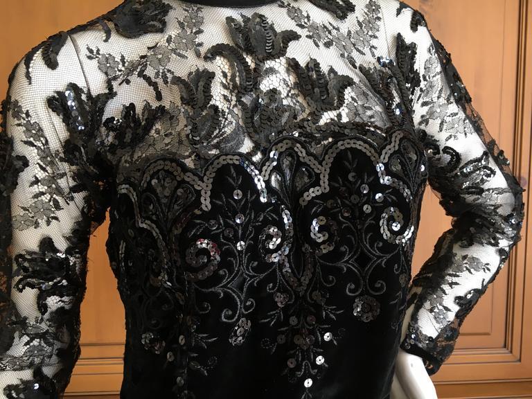 Oscar de la Renta Vintage Velvet Cocktail Dress with Sequin Lace Details For Sale 3