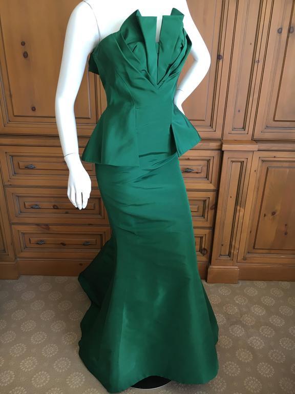 Oscar de la Renta Strapless Emerald Green Taffeta Mermaid Gown 4