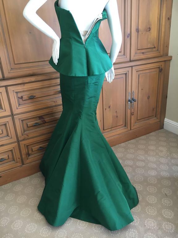 Oscar de la Renta Strapless Emerald Green Taffeta Mermaid Gown 5