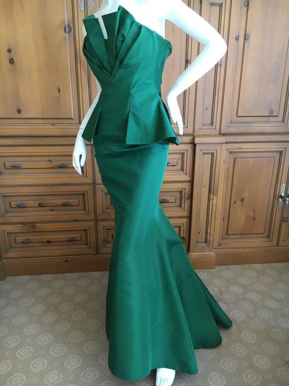 Oscar de la Renta Strapless Emerald Green Taffeta Mermaid Gown 7