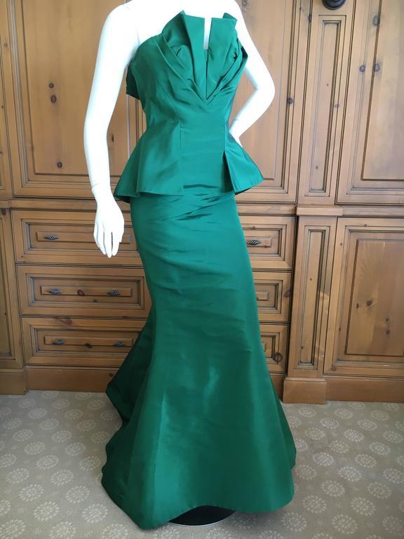 Oscar de la Renta Strapless Emerald Green Taffeta Mermaid Gown 3