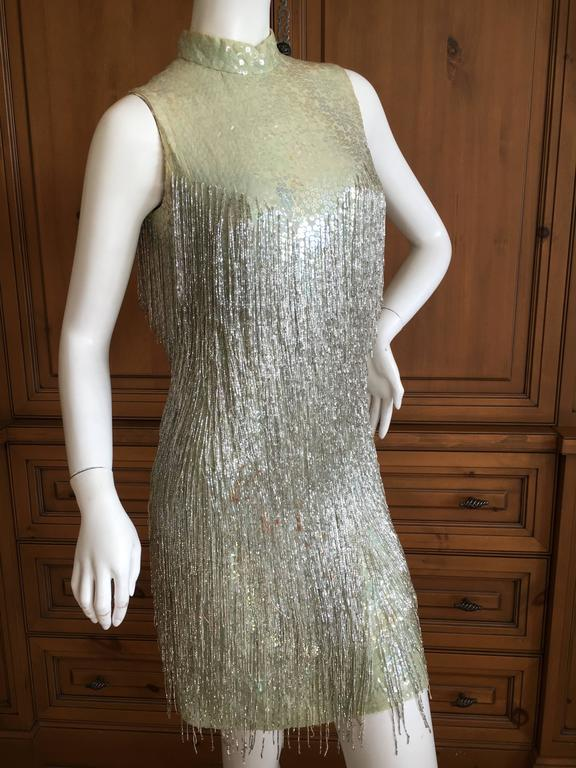 Adele Simpson Sequin Go Go Dress With Silver Glass Beaded