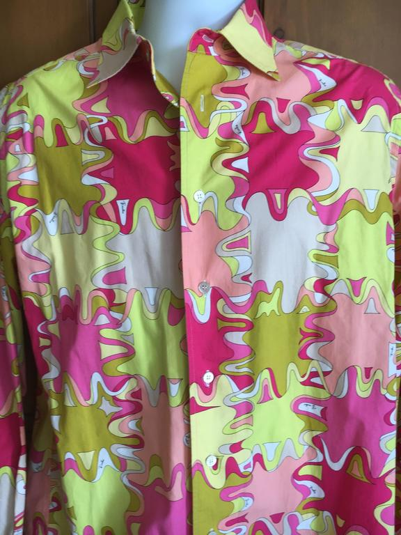 Emilio Pucci Rare Men's Cotton Shirt XL 2