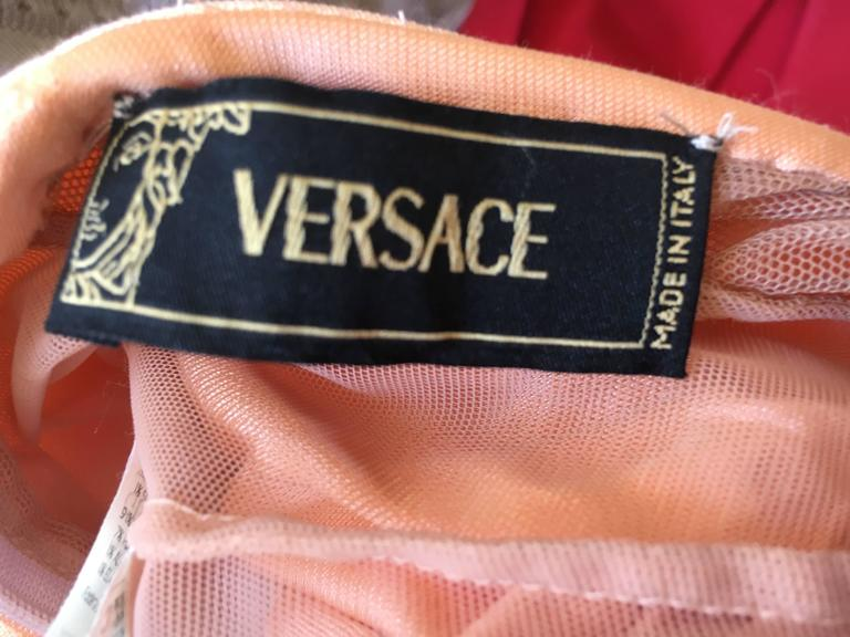 Versace Vintage Jersey Evening Dress with Cross Back Jeweled Straps 10