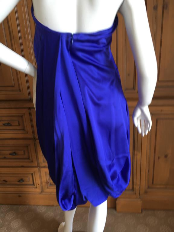 Women's Alexander McQueen 2009 Royal Blue Draped Strapless Dress with Inner Corset For Sale