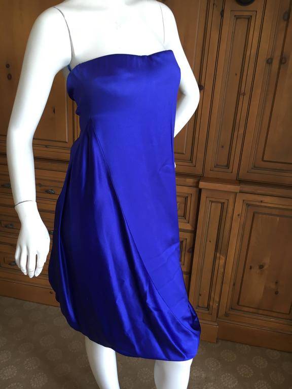 """Alexander McQueen 2009 Royal Blue Draped Strapless Dress with Inner Corset. This is such a lovely dress, the photos don't quite capture it. Size 44 Bust 36"""" Waist 32"""" Hips 42"""" Length 40"""" Excellent condition"""