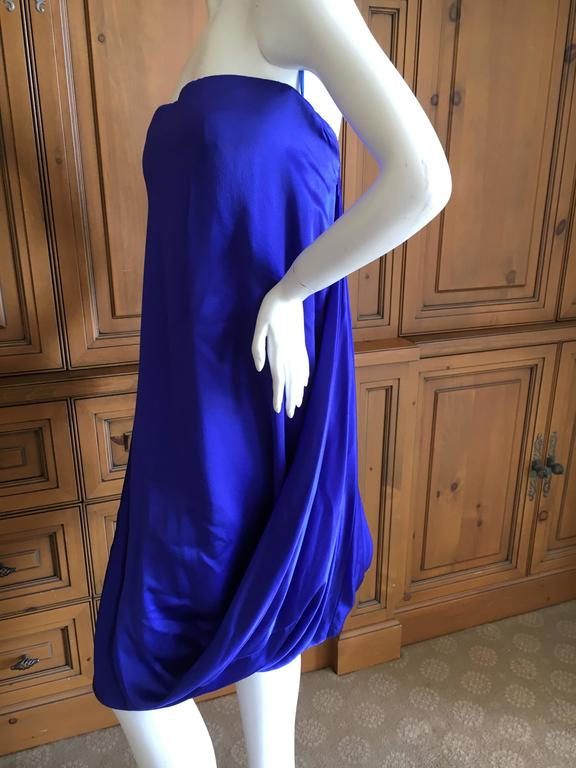 Alexander McQueen 2009 Royal Blue Draped Strapless Dress with Inner Corset In Excellent Condition For Sale In San Francisco, CA