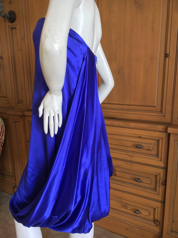 Alexander McQueen 2009 Royal Blue Draped Strapless Dress with Inner Corset For Sale 2