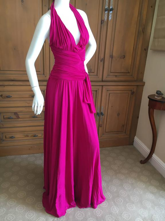 Giambattista Valli Fuchsia Low Cut Halter Dress 8