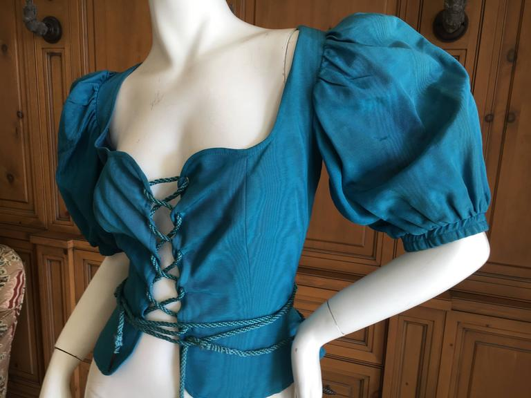 Blue Yves Saint Laurent Rive Gauche 1970's Turquoise Silk Moire Corset Lace Top For Sale