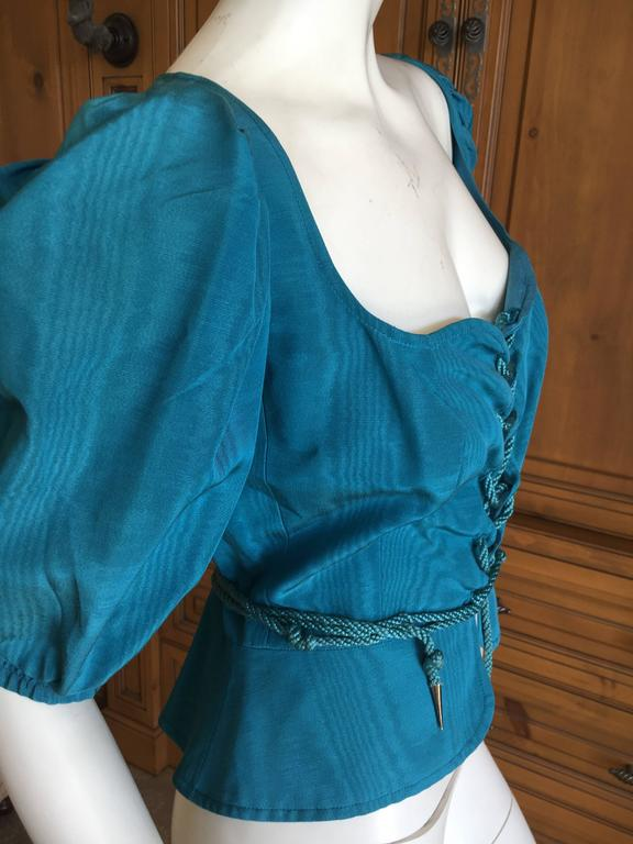 Yves Saint Laurent Rive Gauche 1970's Turquoise Silk Moire Corset Lace Top In Excellent Condition For Sale In San Francisco, CA