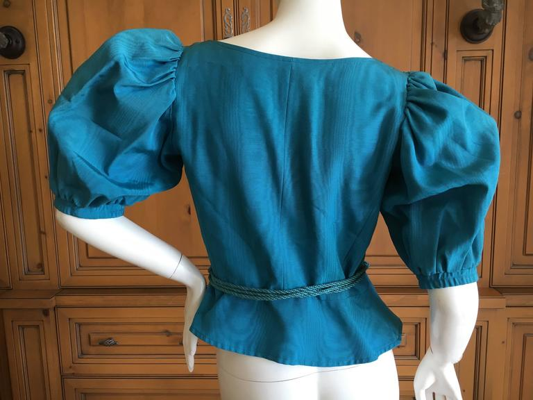 Yves Saint Laurent Rive Gauche 1970's Turquoise Silk Moire Corset Lace Top For Sale 2