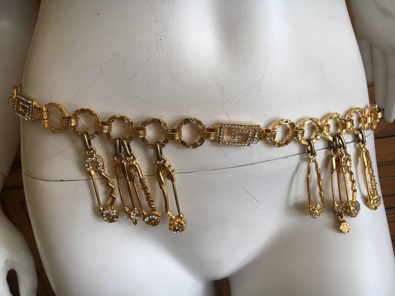Beige Gianni Versace Rare Vintage Crystal Embellished Greek Key Safety Pin Medusa Bel For Sale