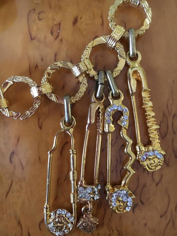 Gianni Versace Rare Vintage Crystal Embellished Greek Key Safety Pin Medusa Bel 7