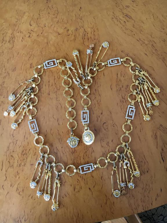 Gianni Versace Rare Vintage Crystal Embellished Greek Key Safety Pin Medusa Bel For Sale 5