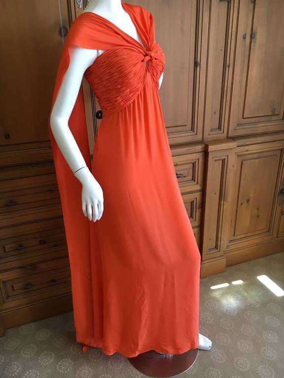 Women's Oscar de la Renta Tangerine Strapless Evening Dress with Detachable Scarf Cape For Sale