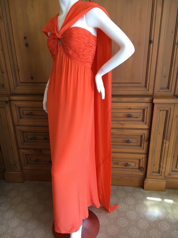 Oscar de la Renta Tangerine Strapless Evening Dress with Detachable Scarf Cape For Sale 2