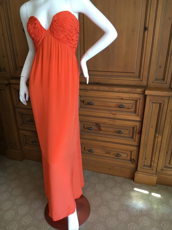Oscar de la Renta Tangerine Strapless Evening Dress with Detachable Scarf Cape For Sale 4