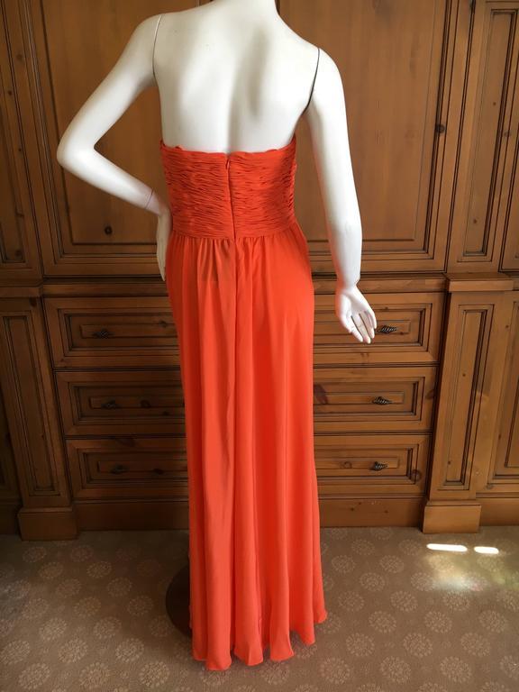 Oscar de la Renta Tangerine Strapless Evening Dress with Detachable Scarf Cape For Sale 3