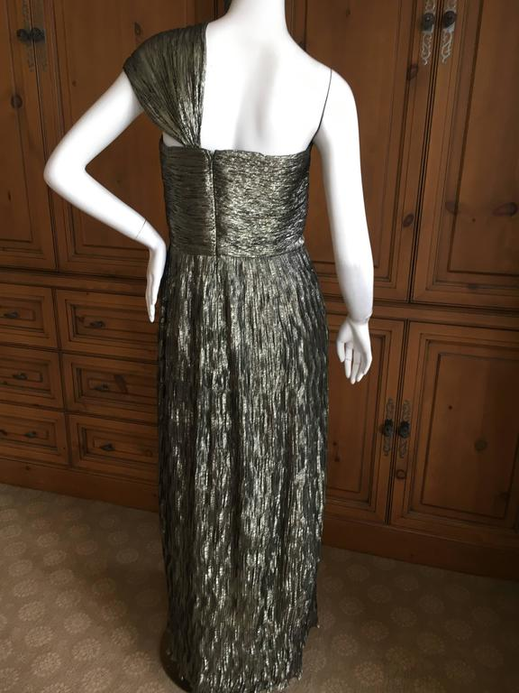 Oscar de la Renta Gold One Shoulder Dress Size 12 6