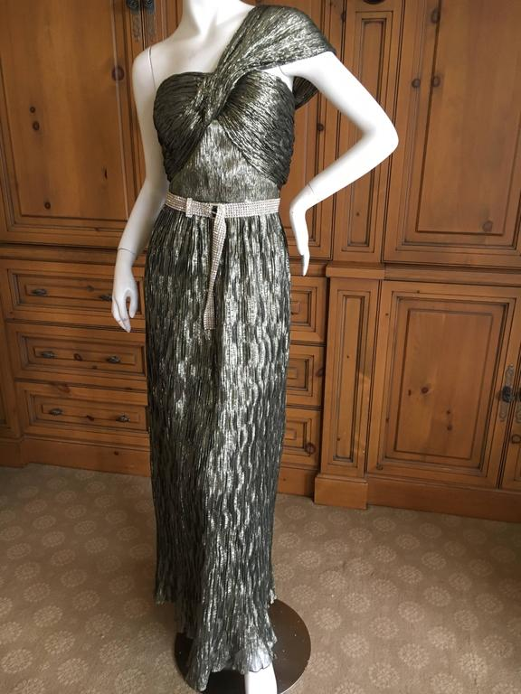 Oscar de la Renta Gold One Shoulder Dress Size 12 5