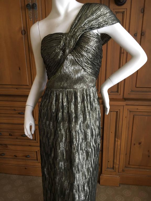 Oscar de la Renta Gold One Shoulder Dress Size 12 8