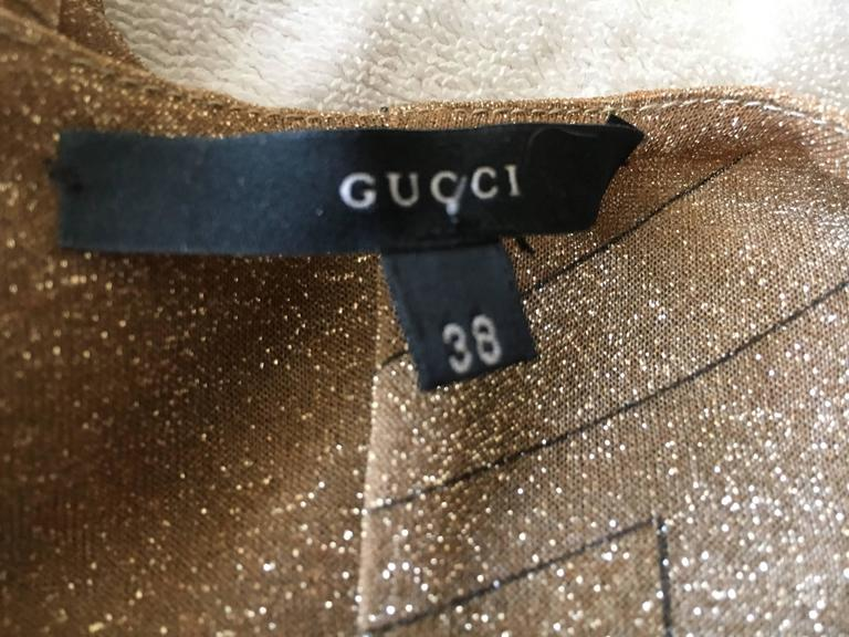 Gucci by Tom Ford Glittering Sheer Gold Top with Dragon Ornament 8