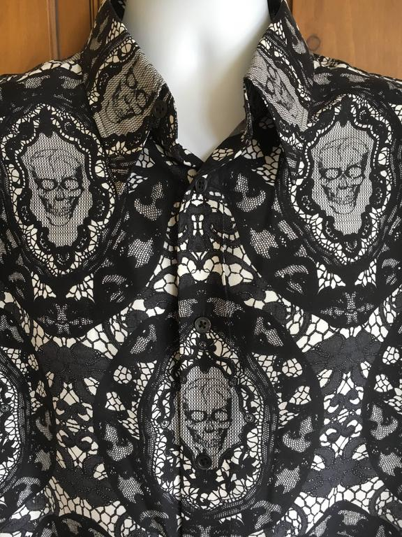 "Alexander McQueen Fantastic Death Head Skull Silk Dress Shirt With French Cuffs.  I've never come across this print before, it looks like the skull is wearing glasses.  Beautifully made, a great collectable McQueen.  Size 54   Chest 44""   Waist 41"""
