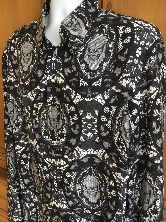 Alexander McQueen Fantastic Death Head Skull Silk Dress Shirt With French Cuffs In Excellent Condition For Sale In San Francisco, CA