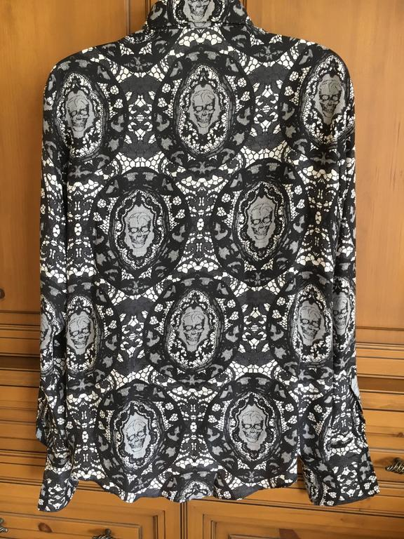 Black Alexander McQueen Fantastic Death Head Skull Silk Dress Shirt With French Cuffs For Sale