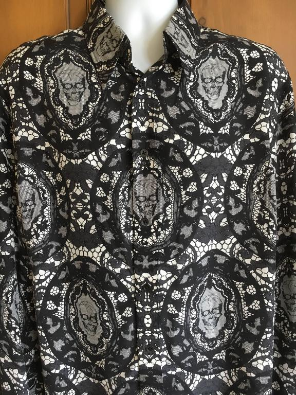 Men's Alexander McQueen Fantastic Death Head Skull Silk Dress Shirt With French Cuffs For Sale