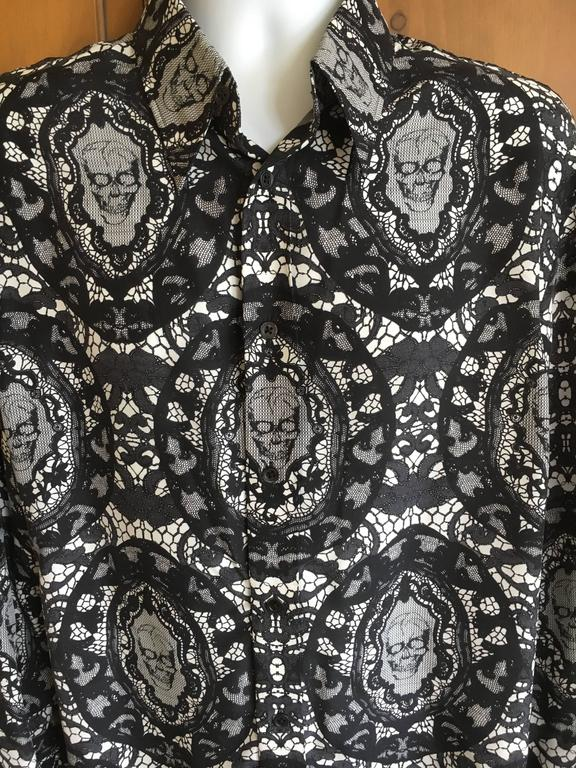 Alexander McQueen Fantastic Death Head Skull Silk Dress Shirt With French Cuffs For Sale 3