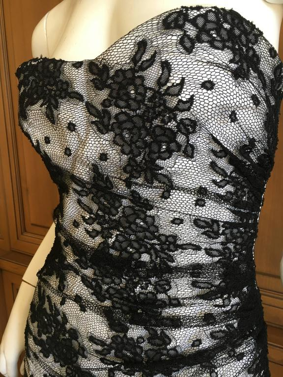 D&G Dolce & Gabbana Vintage Lace Overlay Strapless Cocktail Dress For Sale 2