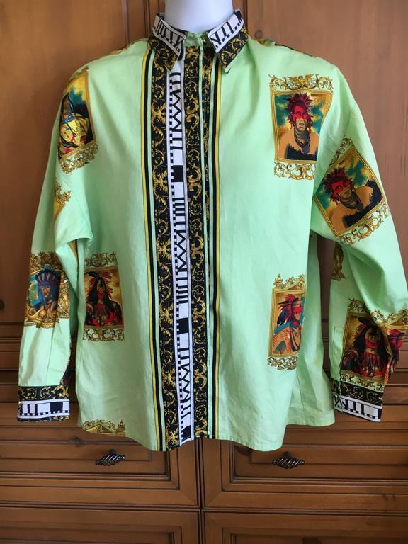 Versus Gianni Versace Rare1993 Cotton Indian Print Men's Large Shirt  4