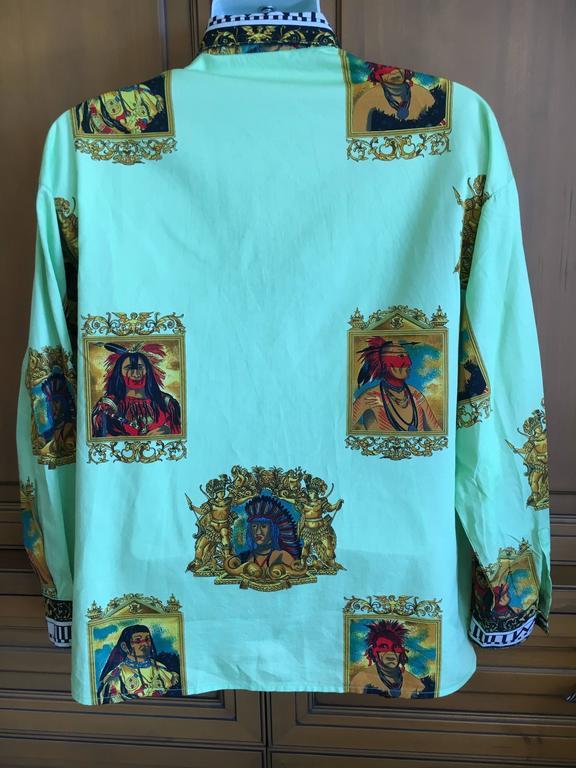 Versus Gianni Versace Rare1993 Cotton Indian Print Men's Large Shirt  9