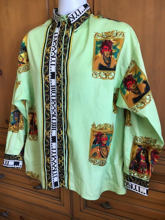 Versus Gianni Versace Rare1993 Cotton Indian Print Men's Large Shirt  2
