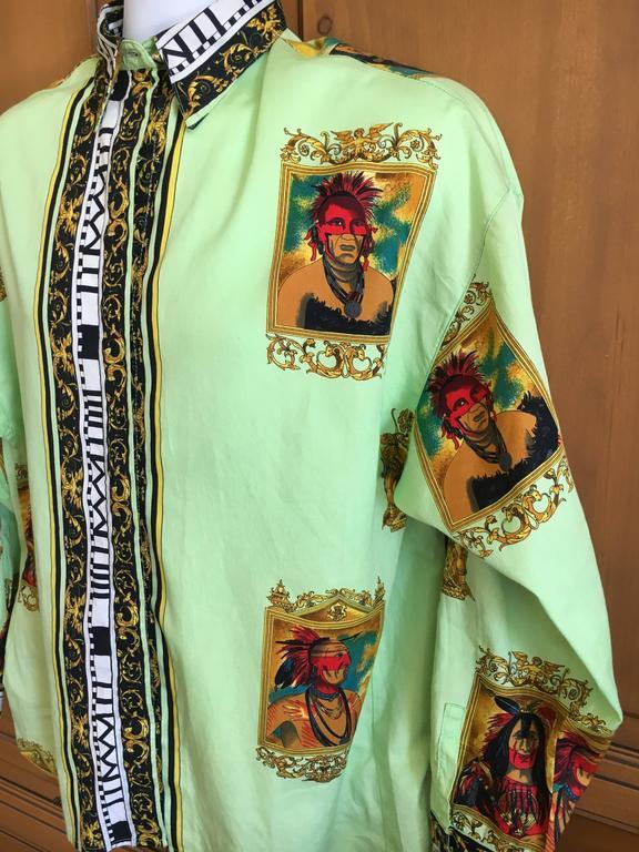 Versus Gianni Versace Rare1993 Cotton Indian Print Men's Large Shirt  6