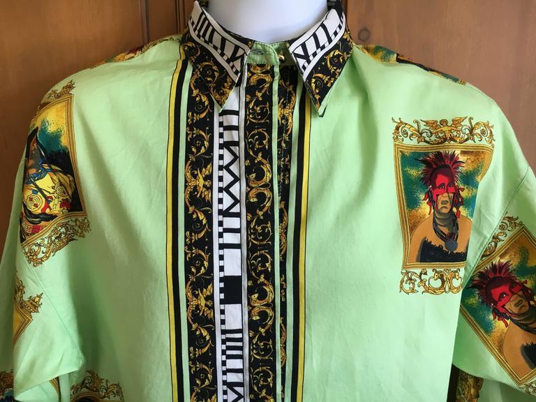 Versus Gianni Versace Rare1993 Cotton Indian Print Men's Large Shirt  3