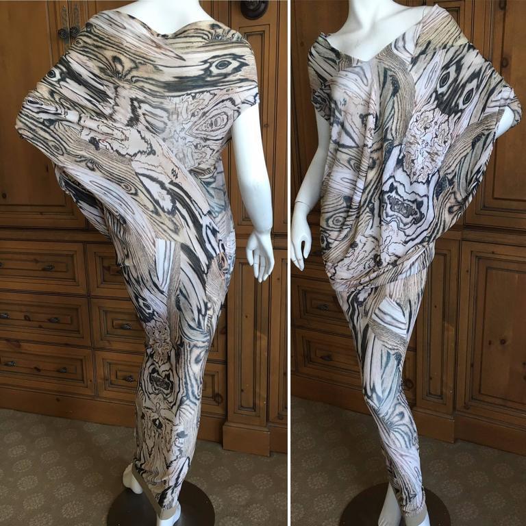 Alexander McQueen Spring 2009 Woodgrain Draped Batwing Long Dress 2