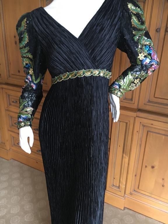 Purple Mary McFadden  Couture Low Cut Black Plisse Pleated Dress w Beaded Sleeves For Sale